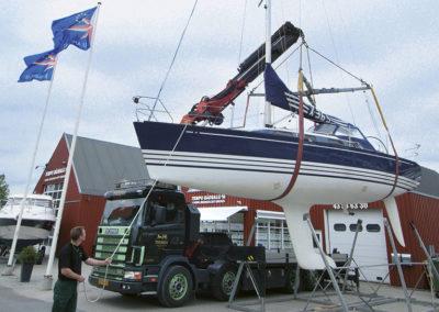 Bådtransport med Kranvogn
