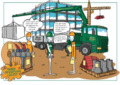Byggematerialerne leverer Thurah direkte på byggepladsen når de skal bruges
